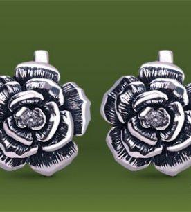 Strieborné náušnice so zirkónmi – Ruža