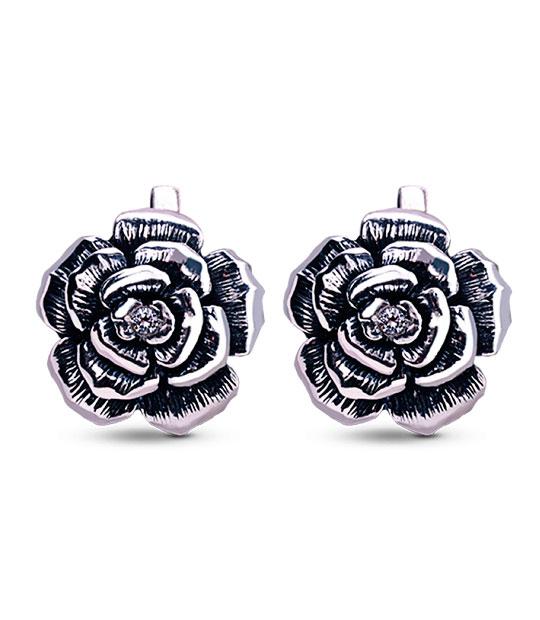Strieborné náušnice so zirkónmi – Ruža 29012