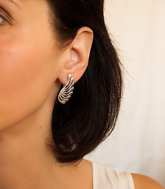 Strieborné náušnice so zirkónmi – 29043 ucho