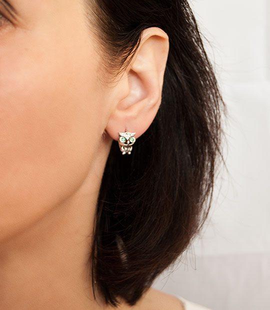Strieborné náušnice so zirkónmi – Sovička na uche