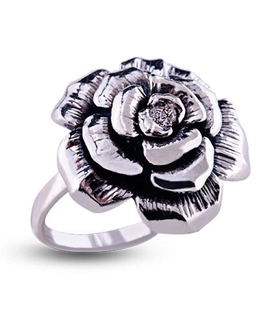 Strieborný prsteň ruža 19012