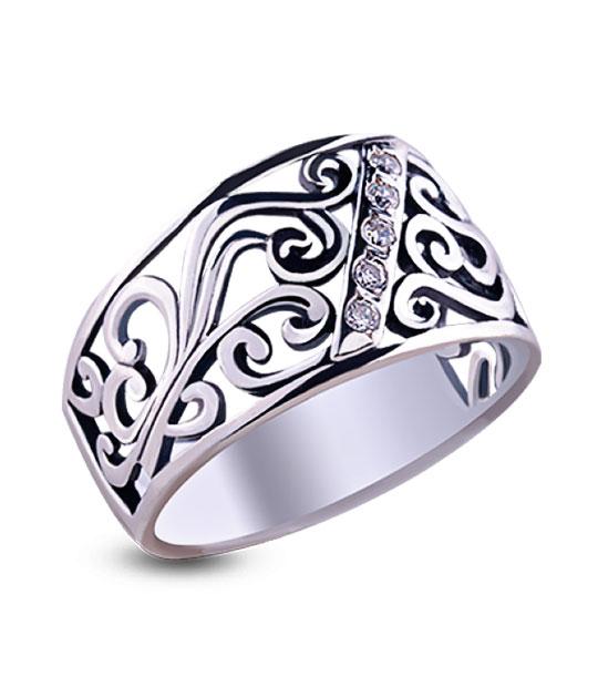 Strieborný prsteň so zirkónmi – Medina 19013