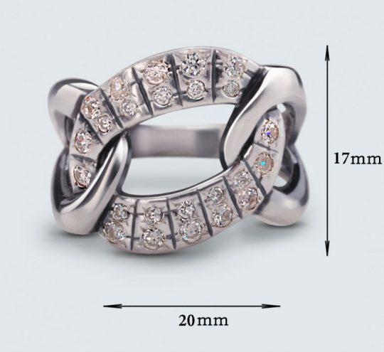 Strieborný prsteň so zirkónmi 19024