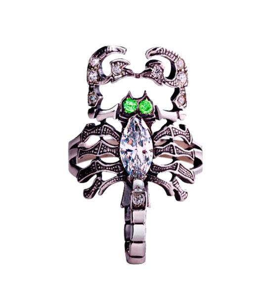 Strieborný prsteň so zirkónmi 19026 Škorpión zelený