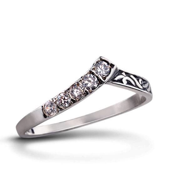 Strieborný prsteň so zirkónmi – 19030 Konvalinka