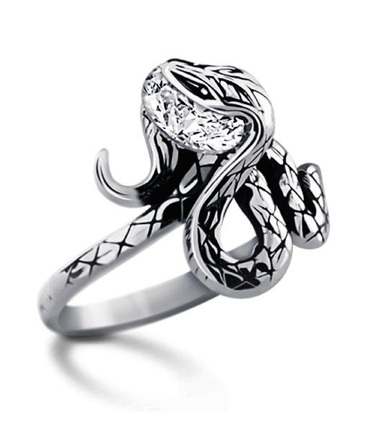 Strieborný prsteň so zirkónmi – Anakonda 19034