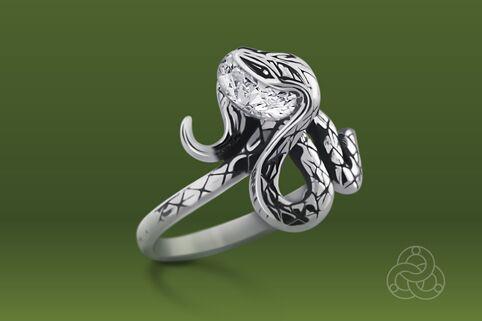 Strieborný prsteň so zirkónmi – Anakonda