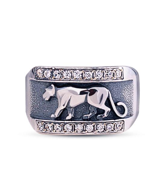 Strieborný prsteň so zirkónmi – Puma 19037