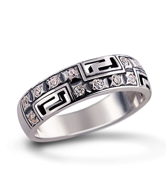 Strieborný prsteň so zirkónmi – Nové Grécko 19042