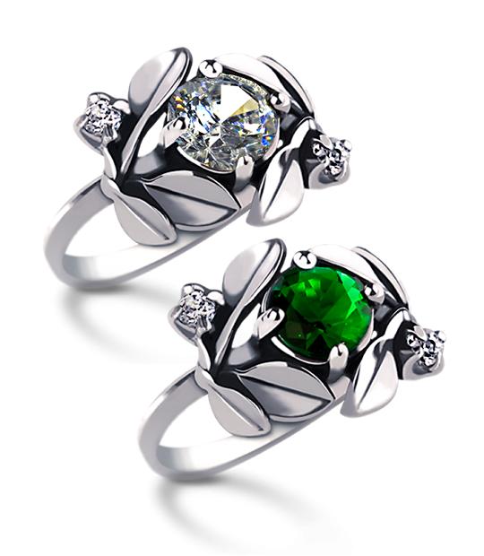 Strieborný prsteň so zirkónom – Jablkový kvet-skupina