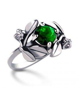 Strieborný prsteň so zirkónom – Jablkový kvet-zelený