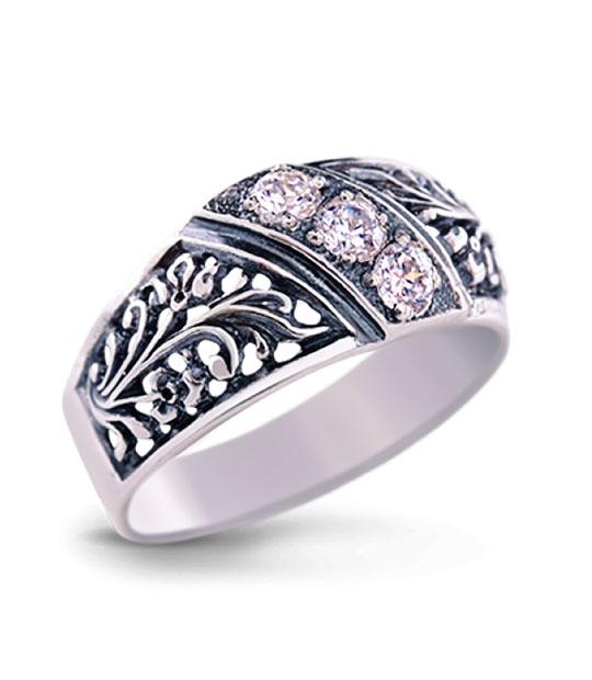 Strieborný prsteň so zirkónmi – Turban 19050