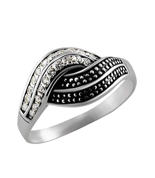 Strieborný prsteň so zirkónmi – Vlna 19058