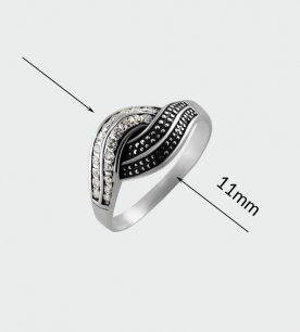 Strieborný prsteň so zirkónmi – Vlna