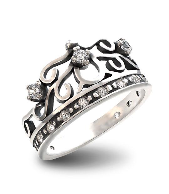 Strieborný prsteň so zirkónmi – Koruna Líza 19060