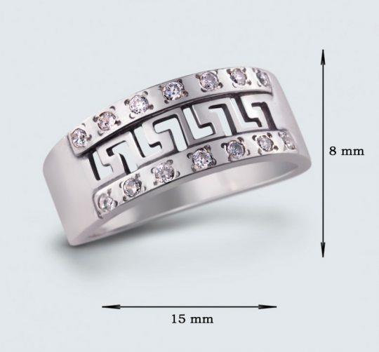 Strieborný prsteň so zirkónmi – Grécko