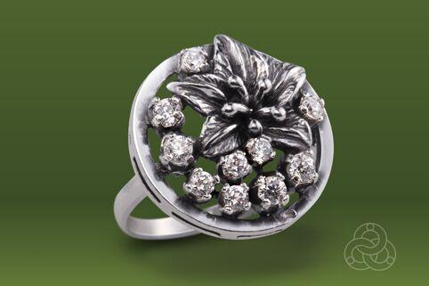 Strieborný prsteň so zirkónmi – Javorový list