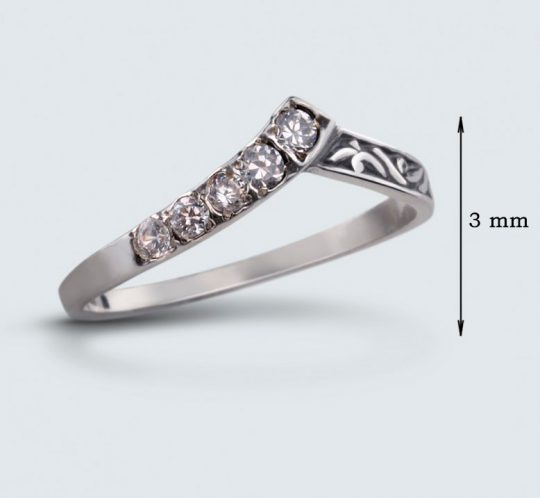 Strieborný prsteň so zirkónmi – Konvalinka