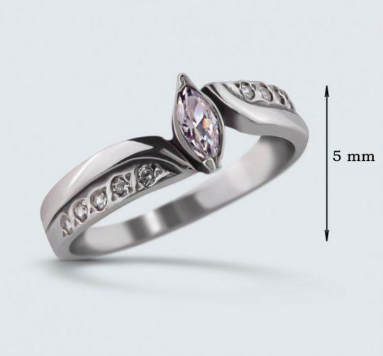 Strieborný prsteň so zirkónmi – Markíza