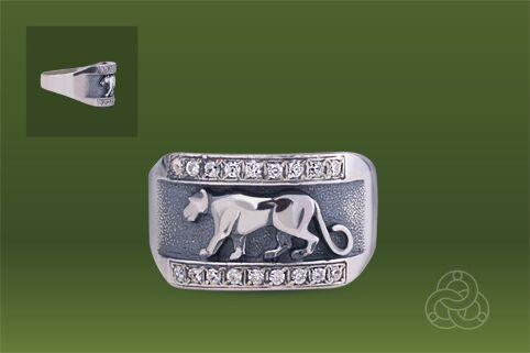 Strieborný prsteň so zirkónmi – Puma