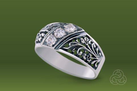 Strieborný prsteň so zirkónmi – Turban