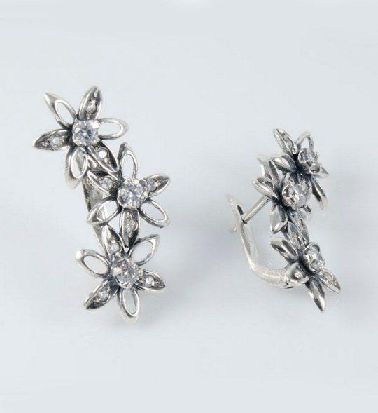 Strieborné náušnice so zirkónmi – Tri Kvety