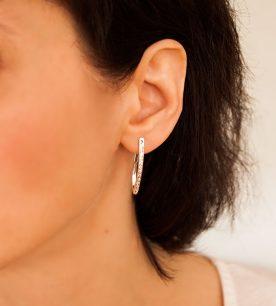 Strieborné náušnice so zirkónmi – 29065 ucho