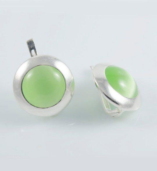 Strieborné náušnice s kameňom – Illa - green ulexit