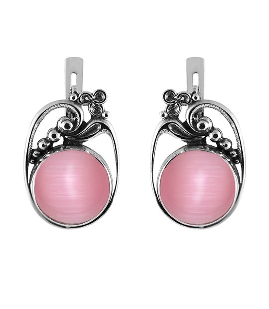 65972904d Strieborné náušnice s kameňom – Hrozno ružové | Argentum-Shop