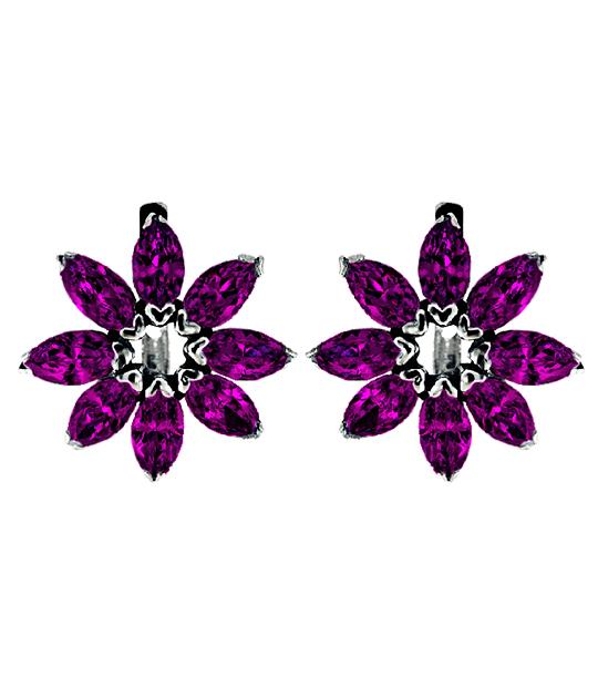 Strieborné náušnice so zirkónmi – Gerbera fialová