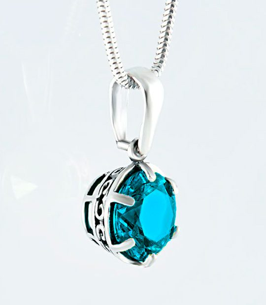 Strieborný prívesok so zirkónmi – Ornament modrý 39092g 2