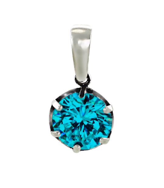 Strieborný prívesok so zirkónmi – Ornament modrý 39092g