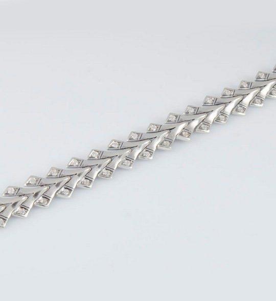 Strieborný náramok so zirkónmi – Klások nový 49030