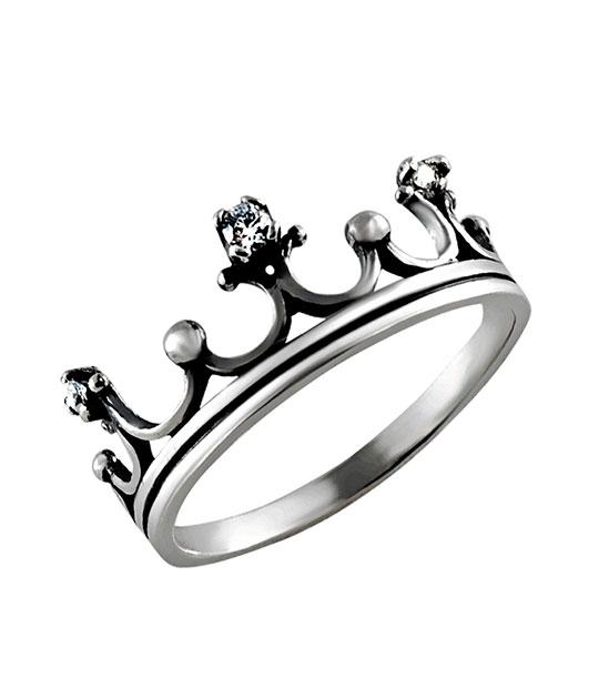 Strieborný prsteň so zirkónmi – Koruna Malá