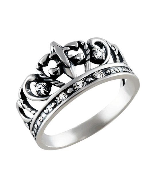 Strieborný prsteň so zirkónmi – Koruna Lekno 19065
