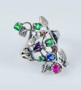 Strieborný prsteň so zirkónmi – Strom Života