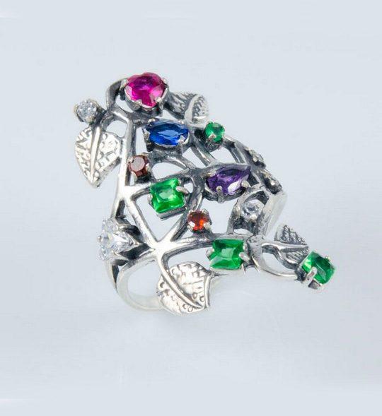 Strieborný prsteň so zirkónmi – Strom Života 19069