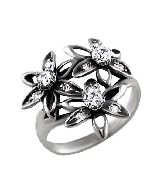 Strieborný prsteň so zirkónmi – Tri kvety