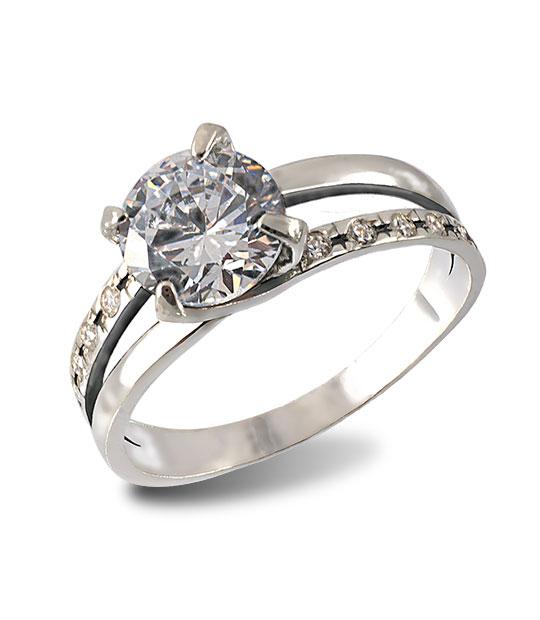 Strieborný prsteň 19076 Agata číry