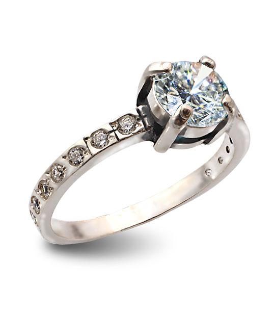 Strieborný prsteň so zirkónmi – Berta 19077 číra