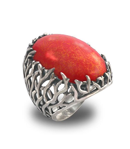 Strieborný prsteň – Forest 19085 červený koral