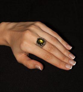 Strieborný prsteňLiana 19095 perleť modro-zelená