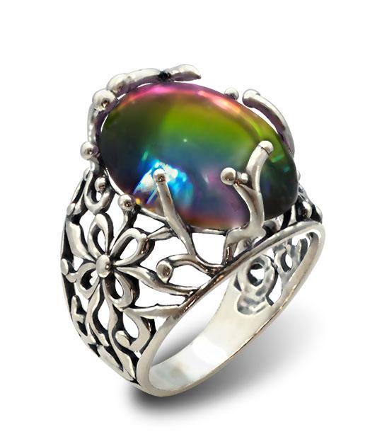 Strieborný prsteň Liana 19095 perleť modro-ružová