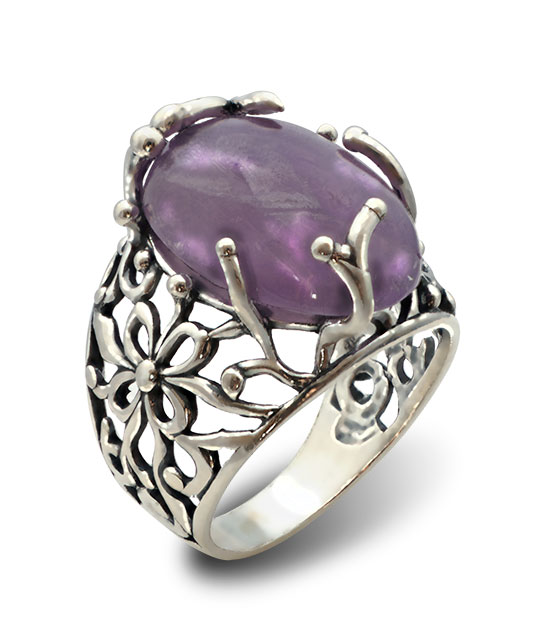 Strieborný prsteň s ametystom – Liana 19095 am