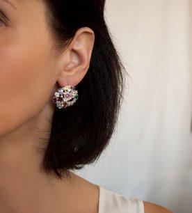 Strieborné náušnice so zirkónmi – 29003 ucho