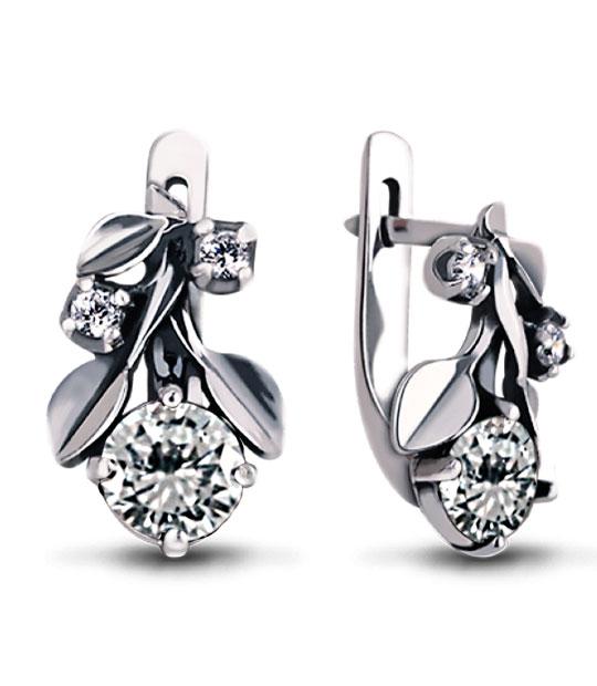 Strieborné náušnice so zirkónmi – Jablkovy kvet 29037 číry
