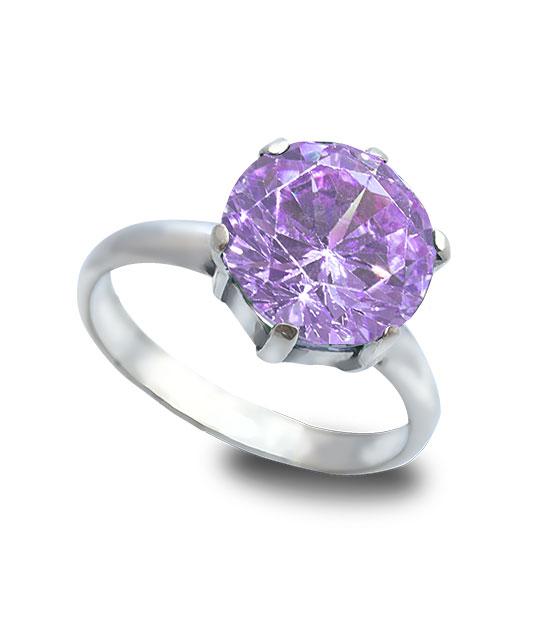 Strieborný prsteň Zafír fialový 19009