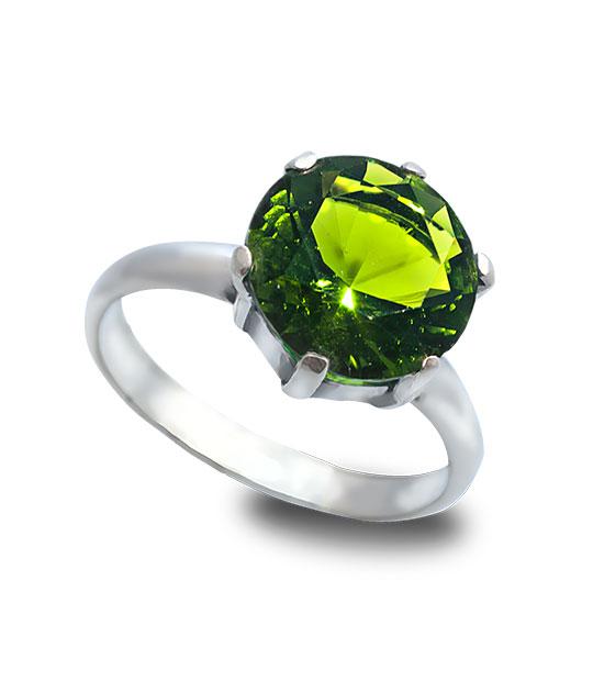 Strieborný prsteň Zafír olivový 19009
