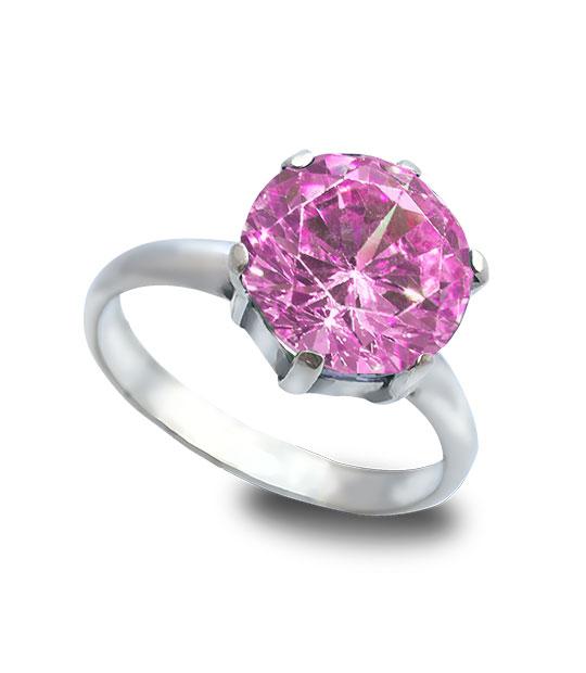 Strieborný prsteň Zafír ružový 19009