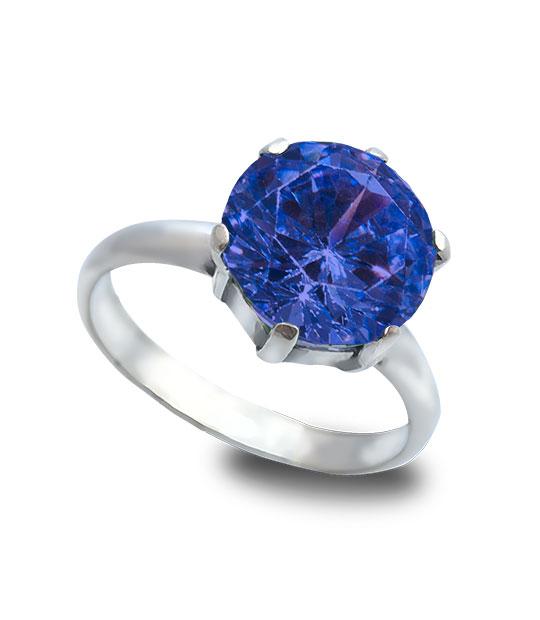 Strieborný prsteň Zafír tmavo-modrý 19009